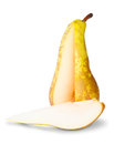 Yellow Pear With Cut Out Segment Stock Image