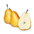 Yellow pear fresh slice on white background Royalty Free Stock Images