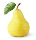 Yellow pear fruit with leaf isolated on white Royalty Free Stock Photo