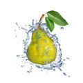 Yellow pear with water splash isolated on white background Stock Photo