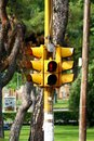Yellow pedestrian traffic light showing red Royalty Free Stock Photo