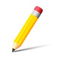 Yellow pencil with eraser vector icon this is file of eps format Stock Images