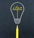 Yellow pencil sketch in light bulb shape ignite the idea word o on black craft paper creativity concept Stock Photo