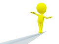 Yellow person rope walker white background Stock Image