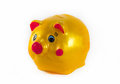 Yellow piggy bank isolate white background Stock Photos