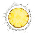 Yellow pineapple in water splash Royalty Free Stock Photo