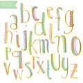 Yellow pink blue green gold colorful ink alphabet letters. Royalty Free Stock Photo