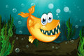 A yellow piranha near the seaweeds illustration of Royalty Free Stock Image