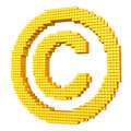 Yellow pixelated copyright symbol made of glossy cubes isolated on white Royalty Free Stock Image