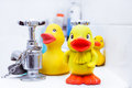 Yellow plastic ducks on the edge of a bath Royalty Free Stock Photo