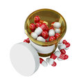 Yellow plastic phial with pills Royalty Free Stock Photo
