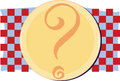 Yellow plate on red and blue checkered background with question mark Royalty Free Stock Images