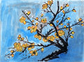 Yellow plum chinese painting on paper Royalty Free Stock Photography