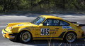 Yellow porsche paltinis sibiu romania september coastal race rally on the road to paltinis Stock Image