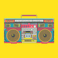 Yellow portable audio speaker - music vector illustration Royalty Free Stock Photo