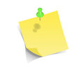 Yellow pos it on white background Royalty Free Stock Photography