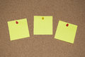 Yellow Post it Notes on a Cork Board Royalty Free Stock Photo