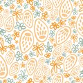 Yellow potpourri seed head seamless pattern