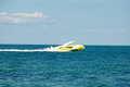 Yellow private pleasure boat Royalty Free Stock Photo