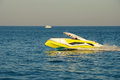 Yellow private pleasure boat on the Black Sea Royalty Free Stock Photo