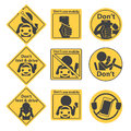 Yellow prohibit sign and symbol vector eps Stock Photo
