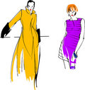 Yellow Purple Fashion Girl Stock Images