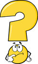 Yellow Question Mark Character Thinking Royalty Free Stock Photo