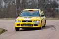 Yellow racing car on rally masters show moscow apr april in moscow russia Stock Photography