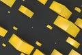 Yellow rectangular shapes of random size on black background