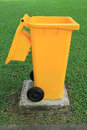 Yellow recycle bin Stock Image