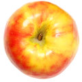 Yellow and red apple over white background Royalty Free Stock Photos