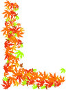 Yellow Red Autumn Leaves Frame Background. Royalty Free Stock Photos
