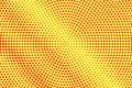 Yellow red dotted halftone. Faded radial dotted gradient. Half tone  background. Royalty Free Stock Photo