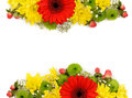 Yellow, red and green flowers arrangements