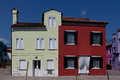 Yellow and red houses in burano italy island near venice is well known for its colorful Royalty Free Stock Photography