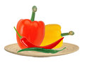 Yellow and red paprika pepper and hot chilli peppers on plate Royalty Free Stock Photo