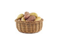Yellow red potatoes basket front white background Royalty Free Stock Photo