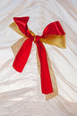 Yellow and red ribbons as a decorative ornament close up Royalty Free Stock Photo
