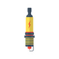 Yellow and red spark-plug icon with lightning sign