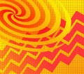 Yellow Red Spiral Zigzag Stock Photos