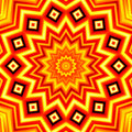 Yellow-red star kaleidoscope background Royalty Free Stock Photo