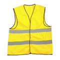 Yellow reflective safety jacket or vest isolated on a white background Royalty Free Stock Photo