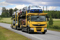 Yellow Renault Premium Car Carrier Transports New Vehicles Royalty Free Stock Photo