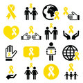 Yellow ribbon icons - suicide prevention, support for troops, adoptive parents symbol Royalty Free Stock Photo