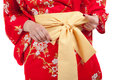 Yellow ribbon on Japanese traditional clothes of Kimono Royalty Free Stock Photos