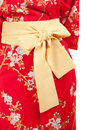 Yellow ribbon on japanese traditional clothes of kimono yukata Royalty Free Stock Photo