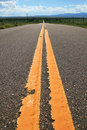 Yellow road lines Stock Photo