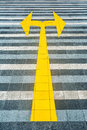 Yellow road marking on pave Royalty Free Stock Photo