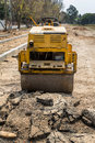 Yellow road roller Royalty Free Stock Photo