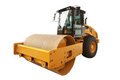 Yellow road roller isolated over a white background with clippin Royalty Free Stock Photo